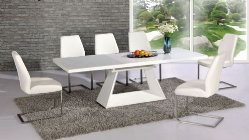 Silvano Extending White High Gloss Contemporary Dining Table & Dalia White Dining Chairs
